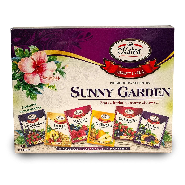 Malwa Tea SUNNY GARDEN Sampler Pack (36 bags) (6 Unique Flavors)