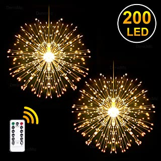 DenicMic 2Pcs Starburst Lights 200 LED Firework Lights Copper LED Lights, 8 Modes Fairy Lights with Remote, Hanging Ball Lights for Christmas Party Outdoor Decoration (Warm White)