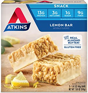 Atkins Gluten Free Snack Bar, Lemon Bar, Keto Friendly, 7.05 Ounce (Pack of 6)