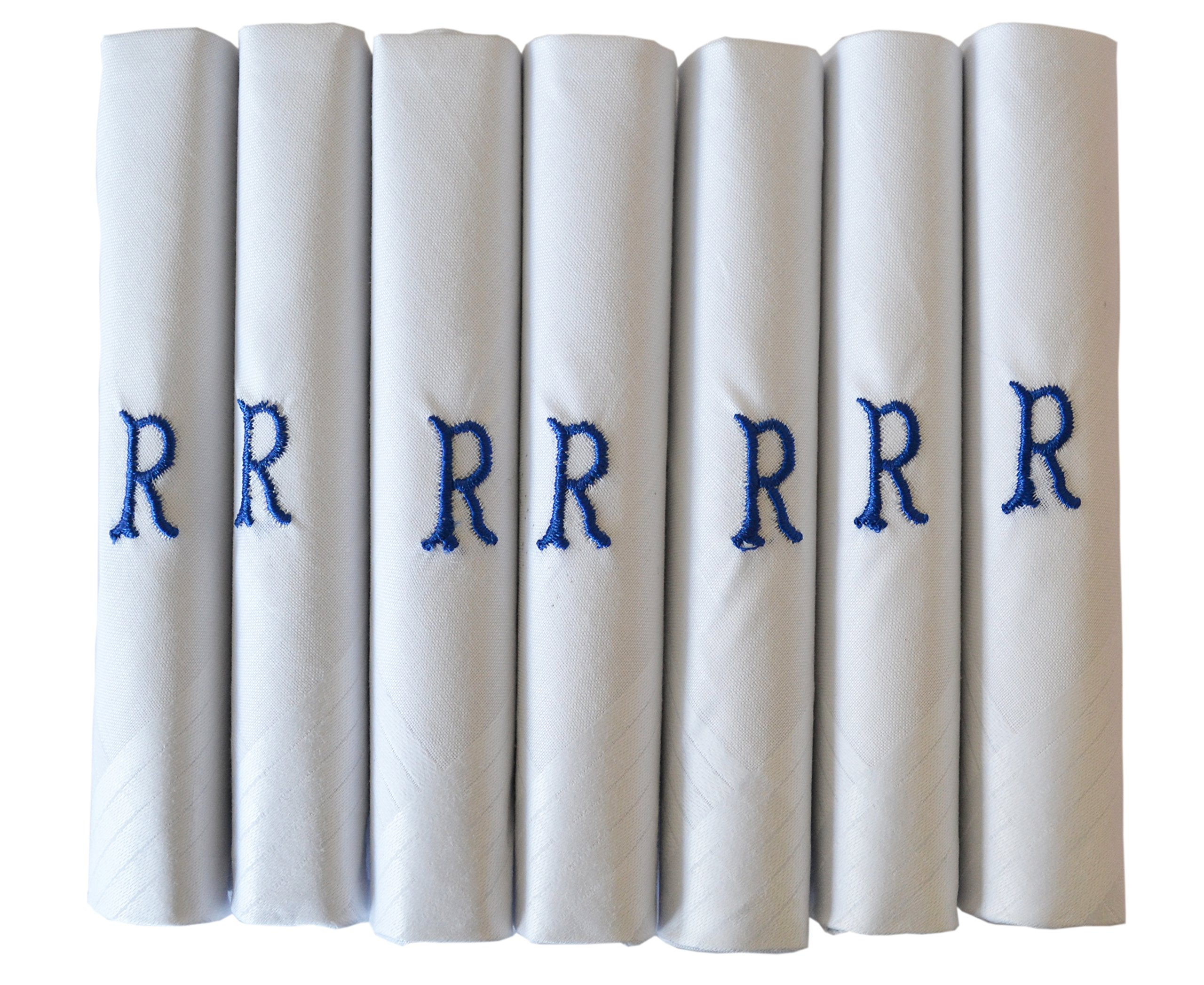 7 Pack Of Mens White Satin Bordered Handkerchiefs With Initials Various Letters