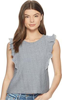 Emin Striped French Terry Ruffle Top