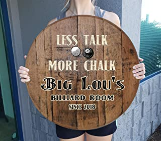 CBW Personalized Pool Table Custom Bar Sign for Game Room on Whiskey Barrel Lid Wall Art Whiskey Barrel Gift Man Cave Natu...