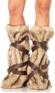Women's Warrior Faux Fur Leg Warmers with Faux Leather Wrap Detail