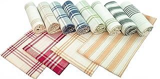 Home Linge Passion Torchons de Cuisine 100% Coton (Lot de 12), Taille 50 x 70 cm (Panachage Bleu, Jaune,Vert, Rouge, Beig...
