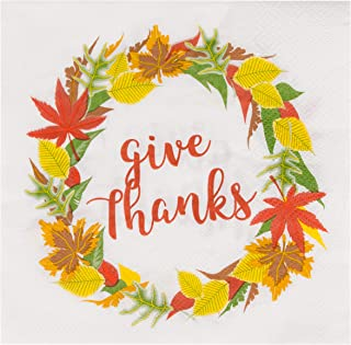 Cocktail Napkins - 100-Pack Disposable Paper Napkins, Autumn Thanksgiving Dinner Party Supplies, 2-Ply, Give Thanks and Autumn Leaves, White, Unfolded 13 x 13 Inches, Folded 6.5 x 6.5 Inches