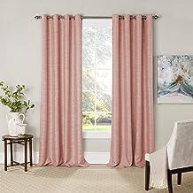 "Eclipse Newport 52"" x 84"" Insulated Darkening Single Panel Grommet Top Window Treatment Living Room, 52x84, Blush"