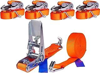 4 x 800 kg 4 m Tensor de carraca Cinchas correa trinquete con gancho Pulpos para baca Eslingas con carraca 25 mm