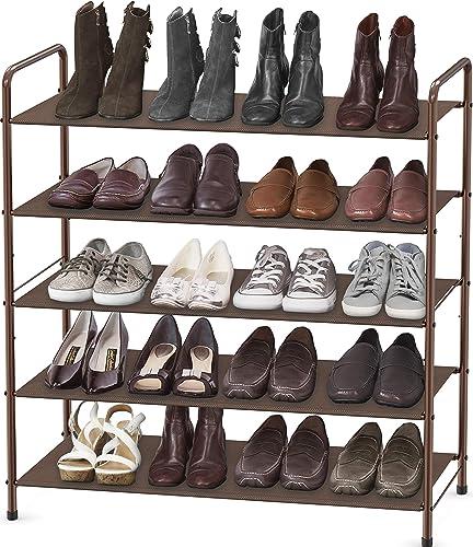 popular Simple Houseware 5-Tier Shoe Rack discount Storage Organizer, online sale Bronze sale