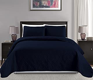 Mk Collection 3pc Full/Queen Over Size Diamond Bedspread Bed Cover Embossed Solid Navy Blue New