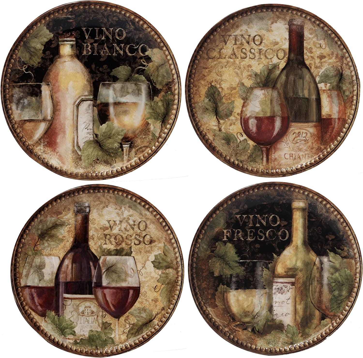 Certified International Gilded Wine Salad Dessert Plates (Set of 4), 9 , Multicolor