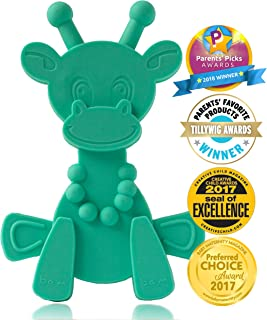Baby Teething Toy Extraordinaire - Little Bambam Giraffe Teether Toys by Bambeado. Our BPA Free Teethers Help take The Stress Out of Teething, from Newborn Baby Through to Infant - Turquoise
