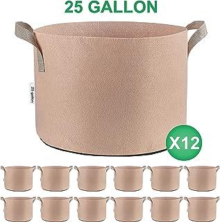 TopoGrow 12 Pack 25 Gallon Grow Bags Tan Fabric Round Aeration Pots Container for Nursery Garden and Planting Grow (25 Gallon, Tan)