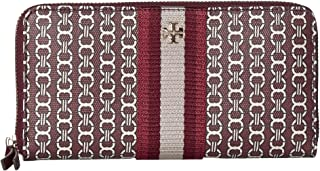 Tory Burch Womens Gemini Link Canvas Zip Continental Wallet, Burgundy Gemini Link - 55311