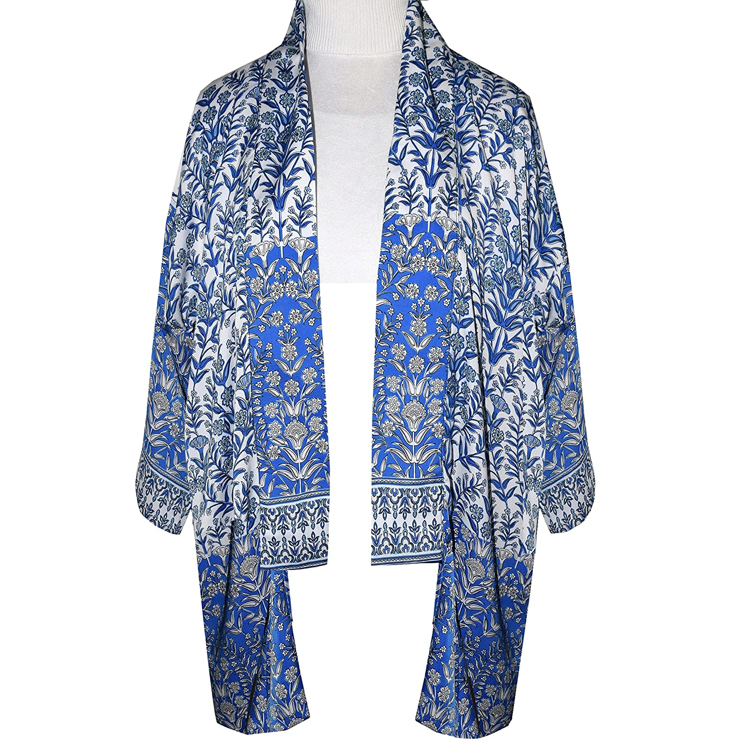 One Outlet New sales SALE of a Kind Blue and Print Polyester White Jacket Kimono Silky