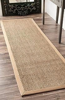 "nuLOOM Elijah Seagrass Natural Runner Rug, 2' 6"" x 6', Beige"
