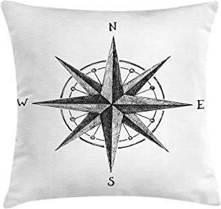 Ambesonne Compass Throw Pillow Cushion Cover, Seamanship Hand Drawn Windrose with Complete Directions North South West, De...