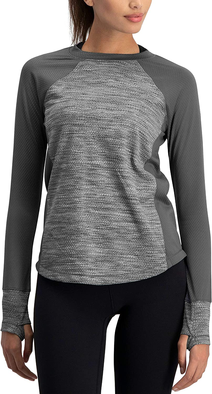 Jolt Gear Long Sleeve Compression Workout Tops for Women  Thermal Running Shirt, Dry Fit w Thumbholes