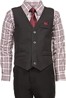 Boys 4 Piece Suit Set with Vest Dress Shirt Tie Pants and Hankerchief