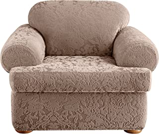 SureFit Stretch Jacquard Damask 2-Piece - Chair Slipcover - Mushroom