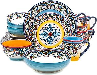 Euro Ceramica Zanzibar Collection Vibrant 20 Piece Oven Safe Stoneware Dinnerware Set, Service For 4, Spanish Floral Design,