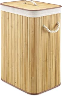 Whitmor Laundry Hamper with Rope Handles Bamboo, 12.25x16.25x23.375, Natural Stain
