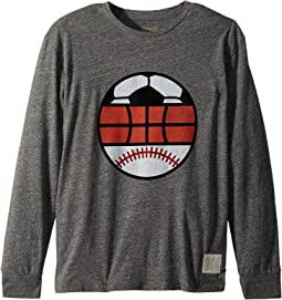 The Original Retro Brand Kids - Long Sleeve Tri-Blend Sports Tee (Big Kids)