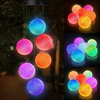 Topspeeder Color Changing Solar Power Wind Chime Spiral Spinner Crystal Ball Wind Mobile..