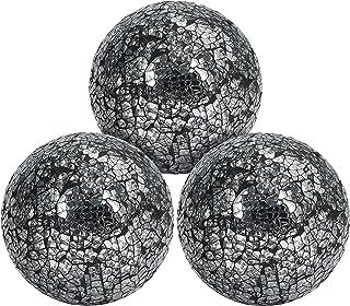 BELLE VOUS Bolas Decorativas de Centro de Mesa Espejo Craquelado (Pack de 3) 10 cm de Diámetro – Set Esferas Decorativas ...