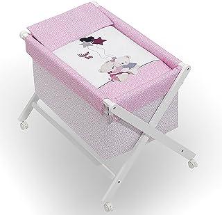 Minicuna mibebestore Plegable Blanco/Rosa Volamos: Estructura + Vestidura + Colcha Desenfuntable + Colchón + Almohada