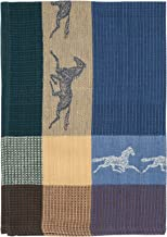 """Traders and Company 100% Cotton Blue & Beige 20""""x28"""" Dish Towel, Set of 6 - Horse Ink"""