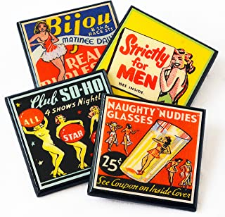 Vintage Burlesque Matchbook Cover Coaster Set