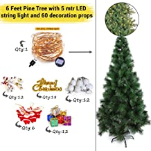 TIED RIBBONS Christmas Pine Tree for Home Office Decoration (6 Feet) with 60 Ornaments Tree Decoration Props and 5 mtr Long LED String Light - Xmas Tree