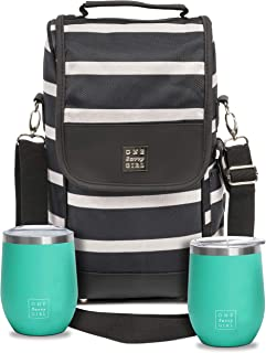 Wine Tote Bag with Stainless Steel Stemless Wine Glasses - 2 Bottle Wine Carrier Purse - Perfect For Travel, Events, Beach, Pool, Picnic & More - Great Gift for Women and Wine Lovers