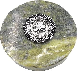 Connemara Genuine Irish Marble/Mullingar Pewter Paperweight Shamrock