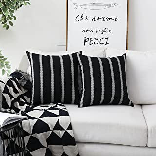 Home Brilliant Christmas Decorative Throw Pillow Covers Modern Farmhouse Stripe Cushion Covers for Bed Sofa Couch Decoration, 18 x 18 inches(45x45cm), Black