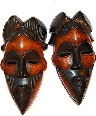 NOVARENA African Art Cameroon Gabon Fang Wall Masks and Sculptures - Africa Home Mask Decor (2 Pc Congo 12 Inch Black & Brown
