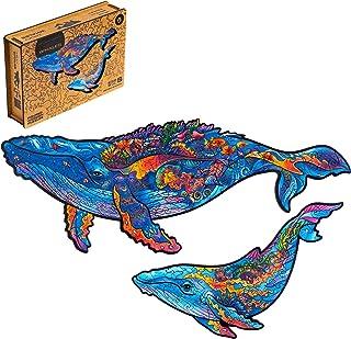 UNIDRAGON 木製パズル ジグソー、大人と子供への最高のギフト、ユニークな形のジグソー ピース、ミルキーなクジラ、25 x 15 cm、98 ピース、小