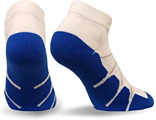 Sox SS4011-18 Sport Gentle Plantar Fasciitis Arch Support Low Cut Running, Gym Compression Socks, White/Royal, X-Large - SS4011
