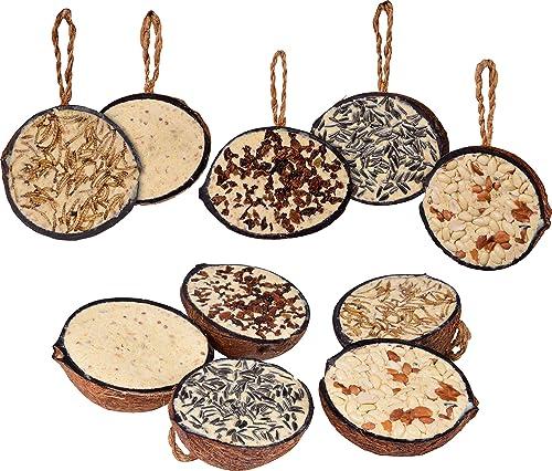 dobar 10 x Boules de Graisse en Noix de Coco à Suspendre, 5 variétés de Nourriture pour Oiseaux Sauvages.