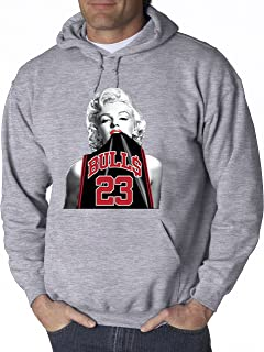 New Way 420 - Adult Hoodie Marilyn Monroe Bulls 23 Jordan Jersey Unisex Pullover Sweatshirt 4XL Heather Grey