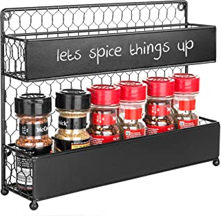 MyGift Rustic Chicken Wire Wall-Mounted Spice Rack with Chalkboard Panels