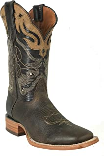 Hand Made Men's New Durable Leather Cowboy Western Square Work Boots Brown Tabaco