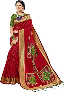 Urban India Women's Banarasi Silk Jacquard Saree Free Size Maroon