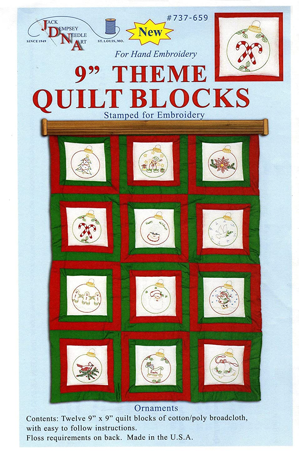 Jack Dempsey Themed Stamped White Quilt Blocks, 9-Inch by 9-Inch, Ornaments, 12-Pack