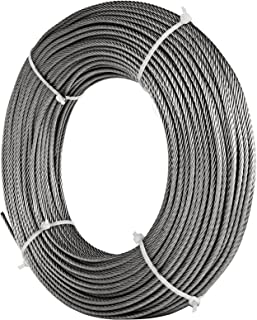 LOVSHARE 0.125 Inch Wire Rope Cable 250FT Reel 304 Stainless Steel Cable Steel 7x19 Strand Core Cable Steel 1732LBS Breaking Strength