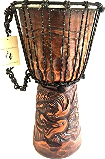 """Djembe Drum Deep Carved Djembe Bongo Congo SOLID WOOD Percussion Drum - XL SIZE - 20"""" - PROFESSIONAL QUALITY/ SOUND - JIVE BRAND (Dragon)"""
