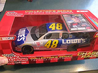 2002 Jimmie Johnson #48 Lowes Blue Silver Paint Scheme 1/24 Scale Racing Champions Yellow Rookie Stripes Edition Hood and Trunk DO NOT Open