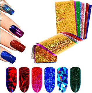 Beaute Galleria 50 Pieces Shiny Sparkly Laser Holographic Galaxy Starry Sky Colorful Nail Transfer Foils Glitter Flakes Sequins Paillette Sticker Manicure for Nail Art Decoration