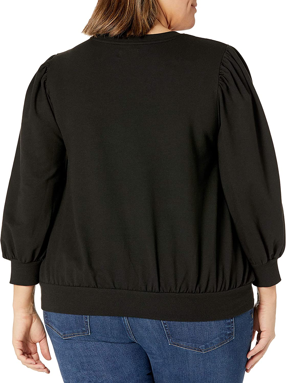The Drop Women's Leona Short Puff Sleeve Crew Neck French Terry Sweatshirt