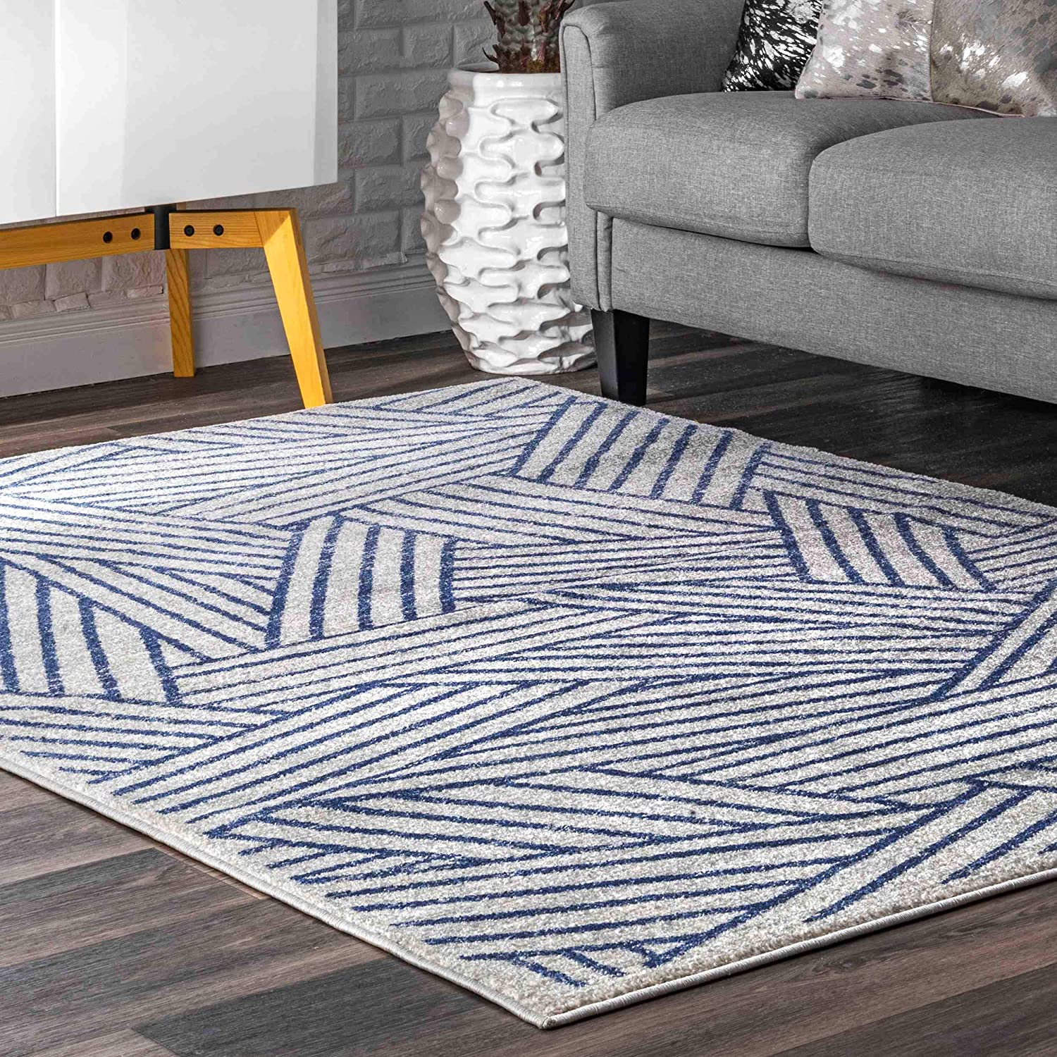 Don't miss the campaign nuLOOM Blanca Selling rankings Contemporary Striped Area 8' Rug x Blue 5'